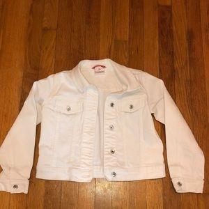 Hanna Anderson white jean jacket girls size 10 140